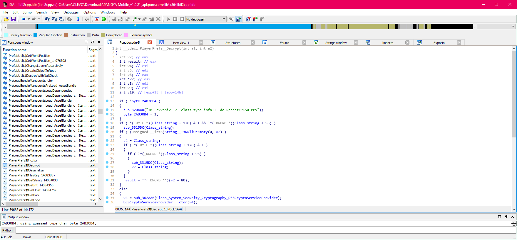 IDA open with the il2cpp.so file and named functions