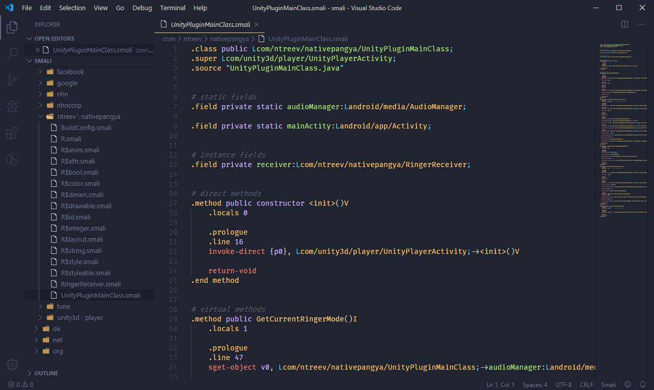 VSCode with a .smali file open