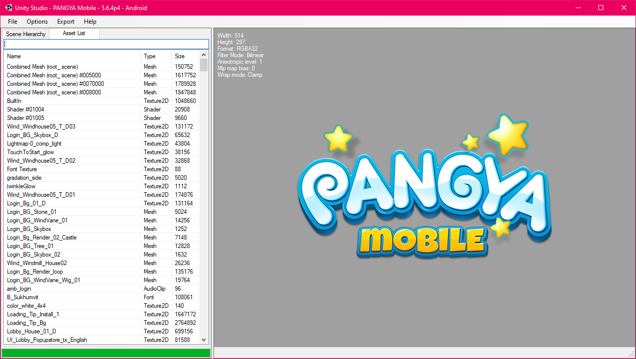 UnityStudio showing the Pangya Mobile logo