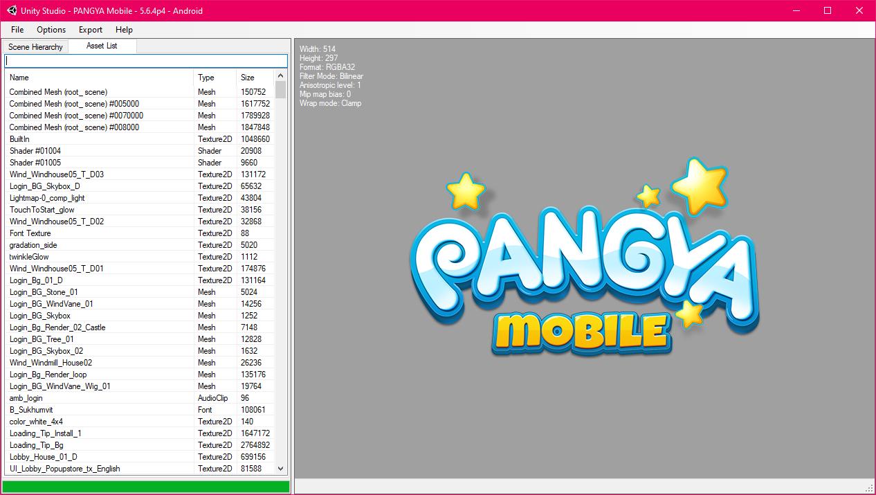 UnityStudio showing the Pangya Mobile logo